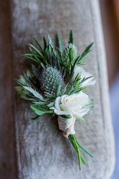 Fresh Fun Relaxed Blue & Green Wedding Thistle Buttonhole http://www.katherineashdown.co.uk/
