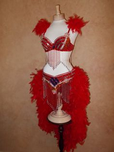 Beautiful Brazil Carnival Samba Parade ShowGirl Dress 4pc Bicini Rhinestone Feather Sequins Costume Burlesque Dancer Drag Queen Outfit SML