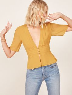 -- Reformation Noah Top -- only always Older Women Fashion, Fashion Tips For Women, Curvy Fashion, Womens Fashion, Fashion Brands, Yellow Fashion, Colorful Fashion, Beautiful Blouses, Dress To Impress