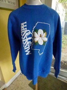 Mississippi magnolias blue 1980s vintage sweatshirt by sideburns, $21.50