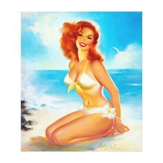 At the Beach Pin Up Canvas Print   redhead makeup tips, dark redhead, black redhead #redheadshavemorefun #redheaded #redheadwitch, 4th of july party Pin Up Vintage, Retro Vintage, Vintage Redhead, Vintage Woman, Vintage Travel, Vintage Style, Rockabilly, Comic Art, Pin Up Girls