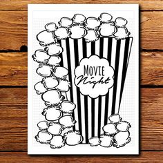 Page ideas Do you just LOVE all those pretty bullet planner designs but dont have the time to sit down with a ruler and pen to make your own on graph paper? Now you can MAKE your movie list with this CUTE rough popcorn themed bullet journal printable planner insert set. <---The best part is you can print more OUT whenever you need to add to your lists! This kit includes the following pages (4 Total) -Movie Night Popcorn Bucket -Popcorn (extended movie list) -In the Theater -Movie Review ❯❯…