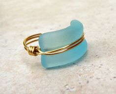 Turquoise Blue Sea Glass Ring:  Bottle Lip 24K Gold Wire Wrapped Ocean Blue Beach Jewelry, Size 7