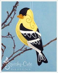 Goldfinch Sewing Pattern PDF - Backyard Bird Stuffed Ornament - Felt Plushie - Gordon the Goldfinch Plushie Patterns, Felt Patterns, Bird Patterns, Sewing Patterns, Softie Pattern, Animal Patterns, Bird Ornaments, Felt Christmas Ornaments, Christmas Crafts