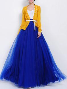 Blue High Waist Gauze Maxi Skirt With Bow   abaday