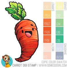 Copic Coloring of a Carrot | http://www.theoddgirl.com/2016/07/copic-coloring-of-a-carrot/