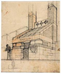 Antonio Sant_Elia, Studio per il progetto del nuovo Cimitero di Monza