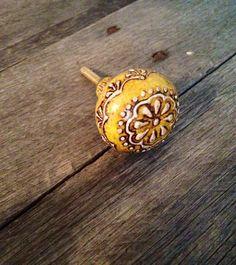 Yellow Knob. Dresser Knobs. Knobs. Cabinet handles. by ShabbyWorks