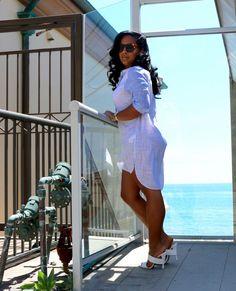 Stripped Shirt Dress + White Heels
