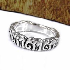 Cute 8 Elephants Line Up Silver Ring (Thailand) | Overstock.com @Courtney Campbell