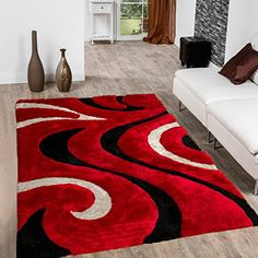 Allstar Red Modern and Contemporary Hand Carved Rectangular Shag Accent Rug with Espresso and Ivory Swirl Design x Decor, Red Living Room Decor, Contemporary, Carpet Design, Home Decor, Egyptian Home Decor, Rugs, Area Rugs, Rugs In Living Room