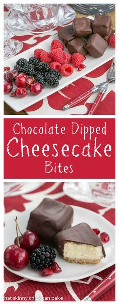Chocolate Dipped Cheesecake Bites | Exquisite, bite-sized gems for your holiday buffet! thatskinnychickcanbake.com @That Skinny Chick Can Bake!!! #SundaySupper