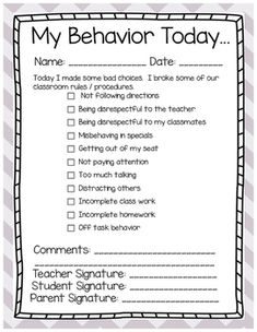Community Helpers Preschool Discover Classroom Behavior Management Student Notice - Editable This is a note I send home if my students are misbehaving. The middle portion of the file (the note to the parents and the behaviors) are editable. Classroom Behavior Chart, Classroom Discipline, Classroom Behavior Management, Behavior Plans, Student Behavior, Behaviour Management, Classroom Rules, School Classroom, School Behavior Chart