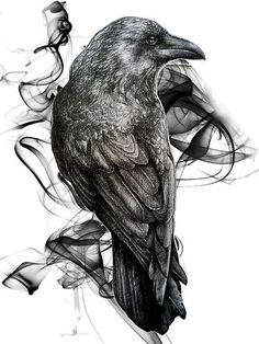 raven and writing tattoo - Google Search