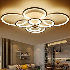 Dimming+Remote Control Living Study Room Bedroom Modern Led Chandelier White Color Surface Mounted Led Chandelier Fixtures http://amzn.to/2tn1hnI