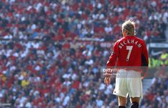 Captain David Beckham lines up to take a corner kick during the FA Barclaycard Premiership match between Manchester United v Tottenham Hotspur at Old Trafford on September 21, 2002 in Manchester, England. Manchester United 1 Tottenham Hotspur 0.