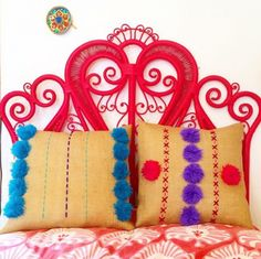 Red Wicker Headboard