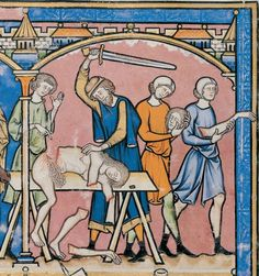 JUDGES 19:29 And when he was come into his house, hee tooke a knife, and layd hold on his concubine, and diuided her, together with her bones, into twelue pieces, and sent her into all the coasts of Israel. The Maciejowski Bible, France, ca. 1250. New York, Pierpont Morgan Library, MS M.638, fol. 16v