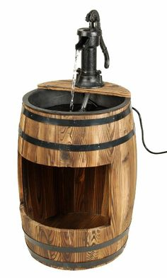 Amazon.com: ASTONICA Whiskey Barrel Wooden Fountain With Planter: Patio,  Lawn U0026