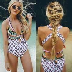 Trina Turk KON TIKI One Piece Swimsuit 8 White V Neck Halter Cross Tie Back $140 #TrinaTurk #OnePiece