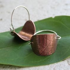 Halloween is only 118 days away!!!!    Spiderweb Copper and Sterling Silver Hoop Earrings  by thenay, $25.00