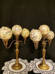 Vintage Jumbo Victorian Shabby Chic Cottage Rose Christmas Tree Ornaments 6 LOT
