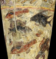 Detail: a large first century goblet decorated with hunting and fishing scenes, from Begram, Afghanistan, provided by The Afghanistan National Museum
