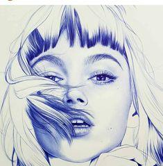 Ballpoint pen drawing by Eva Garrido Pen Sketch, Drawing Sketches, Pencil Drawings, Art Drawings, Stylo Art, Stippling Art, Ballpoint Pen Drawing, Art Manga, Human Art