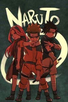 Team 7, Naruto, Sakura, Sasuke, text; Naruto