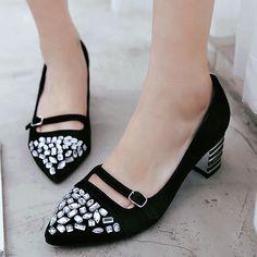43.85$  Buy here  - AIWEIYi 2017 Womens Pumps Genuine Leather Fashion Elegant Rhinestone Platform Shoes Square toe Thick High Heels Casual Shoes