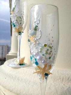 Bicchieri di champagne nozze Starfish spiaggia di PureBeautyArt