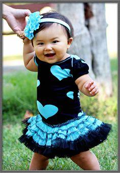 Ooh La La Infant Poufier Onesie Sky Blue Hearts $59.00