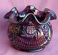 Fenton Pinwheel Blue Carnival Glass Vase