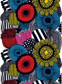 Introducing Marimekko's fall 2009 fabric collection. Some fresh new designs highlight this collection from Marimekko, which also includes some of your favorite patterns reinvented with… Design Textile, Fabric Design, Pattern Design, Colour Pattern, Fabric Patterns, Print Patterns, Floral Patterns, Mandala Bleu, 4 Image