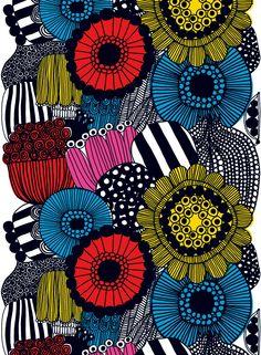 Siirtolapuutarha - Vahakangas (valkoinen,keltainen,pun.,musta) |Kankaat, Vahakankaat | Marimekko