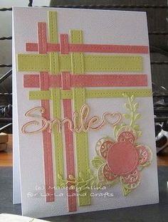 handmade card with woven strip corner from La-La Land Crafts Inspiration and… Cricut Cards, Stampin Up Cards, Handmade Birthday Cards, Greeting Cards Handmade, Paper Cards, Diy Cards, Ribbon Cards, Card Making Techniques, Card Tutorials