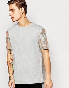 ASOS Longline T-Shirt With Floral Print Sleeves In Relaxed Skater Fit
