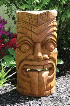 Laughing Tiki Face Garden Sculpture