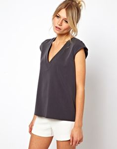 Image 1 ofASOS T-Shirt With Plunge Neck