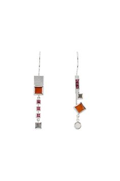 #EARRING - STERLING SILVER, CARNELIAN, SPINEL, INDUSTRIAL DIAMOND, OPAL