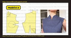 Mod@ en Line Make Your Own Clothes, Diy Clothes, Pattern Cutting, Pattern Making, Blouse Patterns, Clothing Patterns, Sewing Collars, Modelista, Diy Couture
