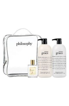 Philosophy Jumbo Summer Grace Set by Philosophy. $139.45. PHILOSOPHY. JUMBO SET. Celebrate the sunny, carefree spirit of summer with the return of philosophy's 'summer grace' fragrance. Layer the warm, bright floral scent from head to toe, and feel happy, lighthearted and carefree. The 'summer grace' trio includes a shampoo, bath & shower gel (32 oz.), firming body emulsion (32 oz.) and spray fragrance (2 oz.).