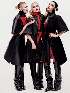 Grimes, Sky and Charli in Givenchy by Riccardo Tisci photographed by Sebastian Faena for V Magazine, 2013