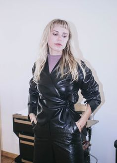 Long Leather Coat, Black Faux Leather, Leather Skirt, Leather Jacket, Fashion Outfits, Womens Fashion, Feminine, Crop Tops, Celebrities