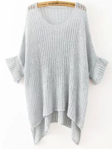 Grey Round Neck Split Loose Knit Sweater US$22.33