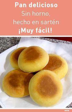 Pan delicioso. Sin horno, hecho en sartén. ¡Muy fácil!   https://lomejordelaweb.