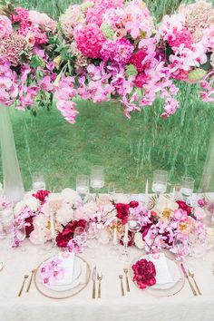 Pink Peony Wedding Inspiration from the Intrigued Experience - Aisle Perfect Wedding Flower Arrangements, Flower Bouquet Wedding, Wedding Centerpieces, Wedding Decorations, Tall Centerpiece, Flower Bouquets, Bridal Bouquets, Floral Arrangements, Long Table Wedding