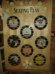 Finished product. Wedding table seating plan music vinyl green day