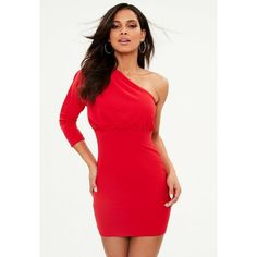 Missguided Pleated One Shoulder Bodycon Dress ($34) ❤ liked on Polyvore featuring dresses, red, stretch bodycon dress, bodycon mini dress, missguided dresses, bodycon cocktail dresses and red cocktail dress