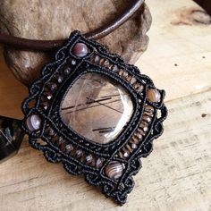 Choker Necklace Pendant Cabochon Black Rutilated Quartz Leather Cotton Cord…